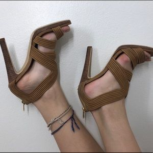 Beige sandals perfect for a summer vacation